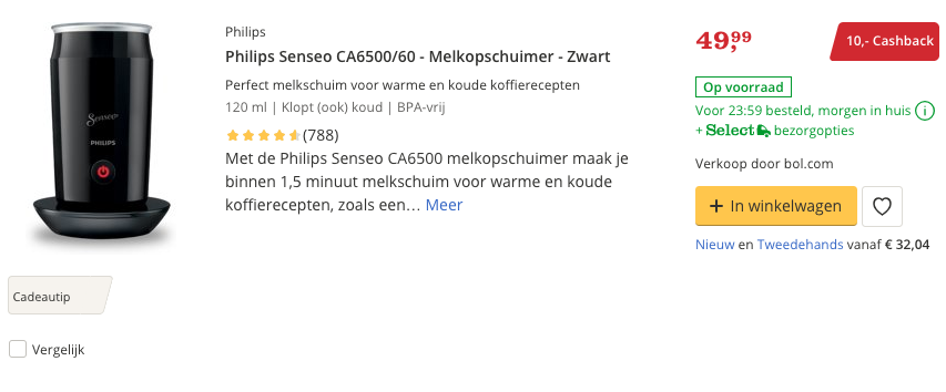 Beste Philips Senseo CA6500:60 - Melkopschuimer - Zwart Top review