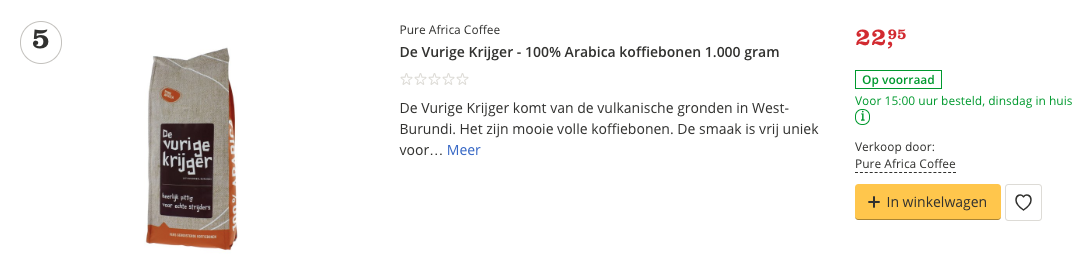 Aanbieding De Vurige Krijger - 100% Arabica koffiebonen 1.000 gram