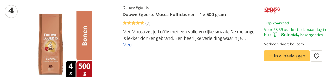 Aanbieding Douwe Egberts Mocca Koffiebonen - 4 x 500 gram