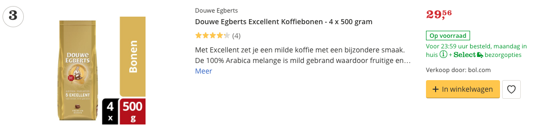 Douwe Egberts Excellent Koffiebonen - 4 x 500 gram