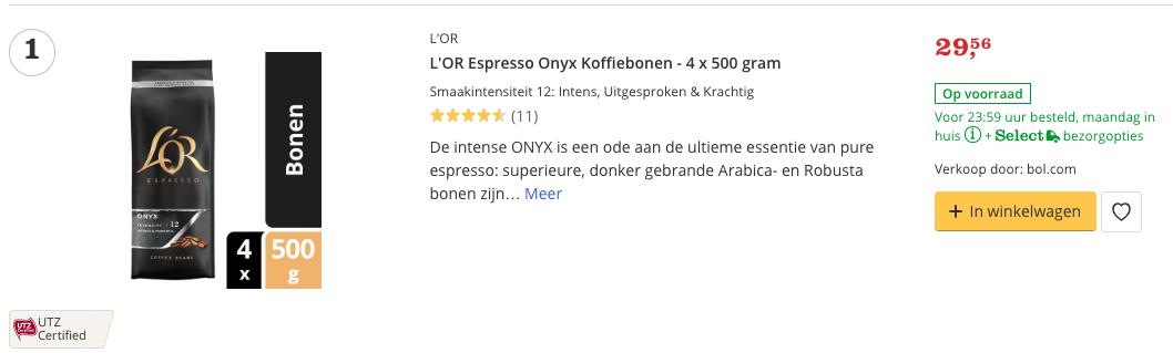 Aanbieding L'OR Espresso Onyx Koffiebonen - 4 x 500 gram