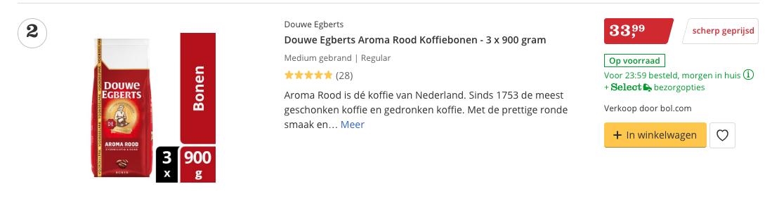 Beste koffiebonen Douwe Egberts Aroma Rood Koffiebonen - 3 x 900 gram