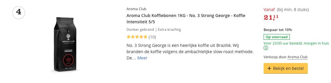 Beste koffie Aroma Club Koffiebonen 1KG - No. 3 Strong George - Koffie Intensiteit 5/5