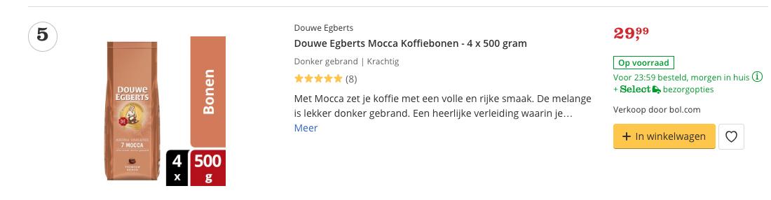 Beste Koffiebonen Douwe Egberts Mocca Koffiebonen - 4 x 500 gram
