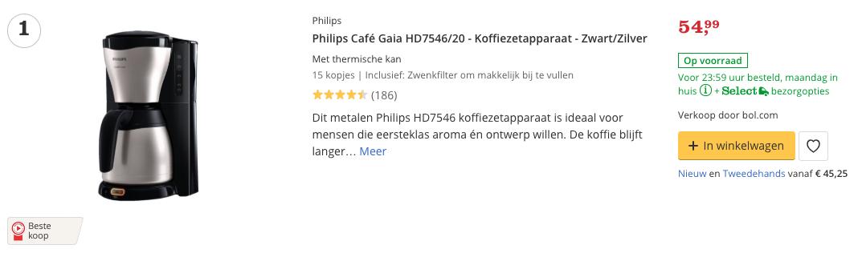 Beste kleine koffiezetapparaat Philips Café Gaia HD7546:20 - Koffiezetapparaat