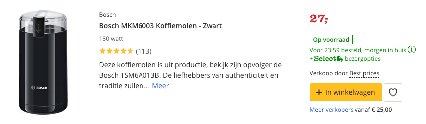 Beste koffiemolen Bosch MKM6003 Koffiemolen - Zwart