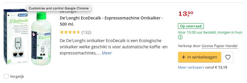 Beste ontkalker De'Longhi EcoDecalk - Espressomachine Ontkalker - 500 ml