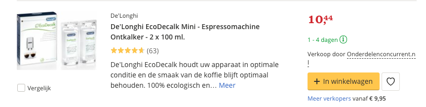 Beste ontkalker De'Longhi EcoDecalk Mini - Espressomachine Ontkalker - 2 x 100 ml