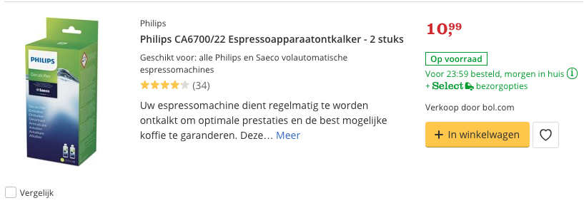 Beste ontkalker Philips CA6700:22 Espressoapparaatontkalker