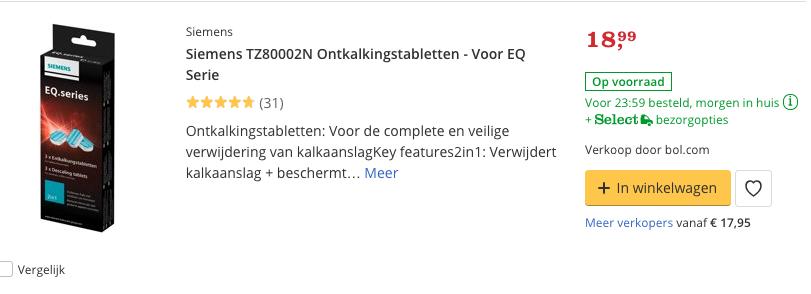 Beste ontkalker Siemens TZ80002N Ontkalkingstabletten