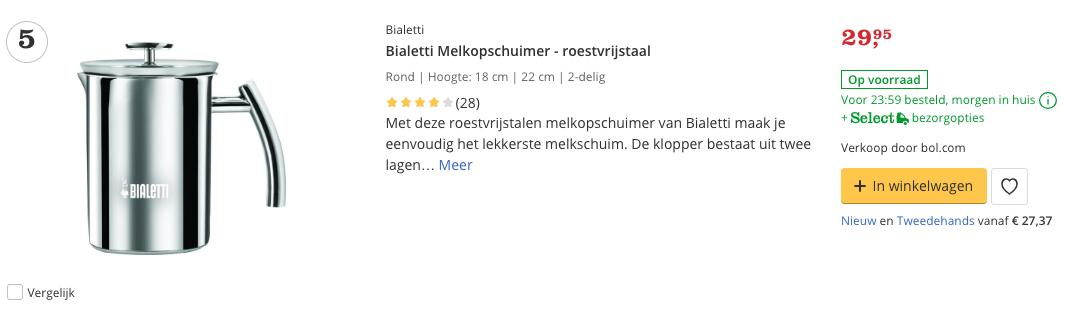 Beste Bialetti Melkopschuimer - roestvrijstaal Top 5 review