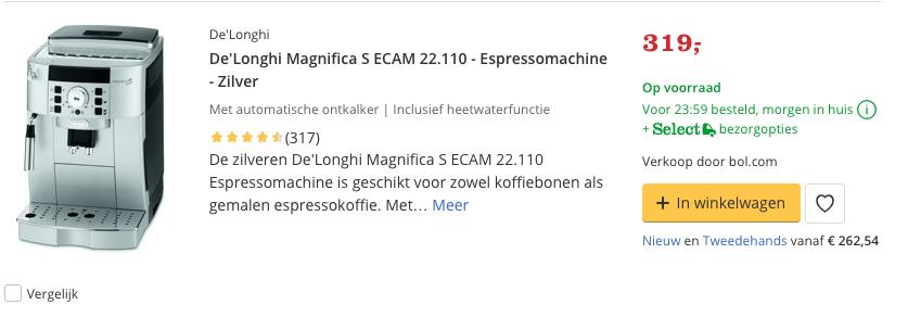 Beste De'Longhi Magnifica S ECAM 22.110 - Espressomachine - Zilver Top 2 Review