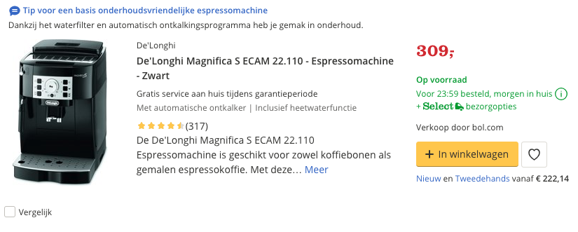 Beste De'Longhi Magnifica S ECAM 22.110 - Espressomachine - Zwart Top 5 Review