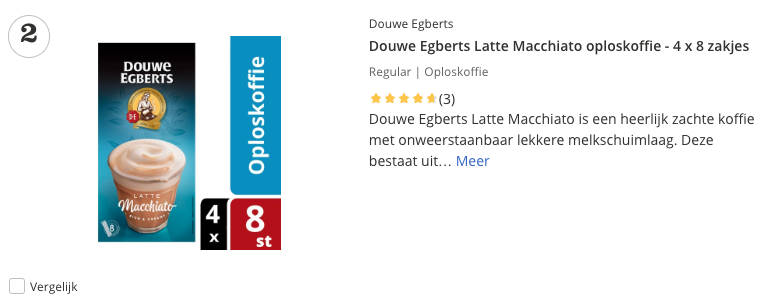 Beste Douwe Egberts Latte Macchiato oploskoffie - 4 x 8 zakjes top 2 review