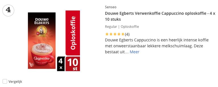 Beste Douwe Egberts Verwenkoffie Cappuccino oploskoffie - 4 x 10 stuks top 4 Review