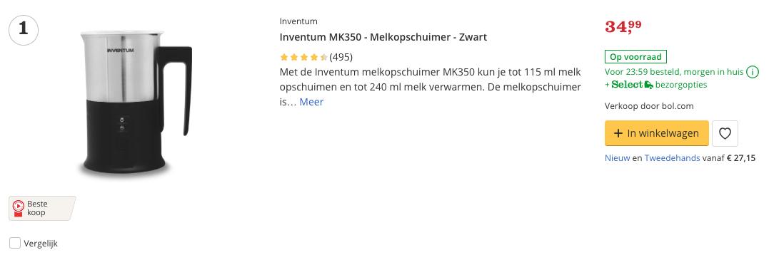 Beste Inventum MK350 - Melkopschuimer - Zwart top 1 Review