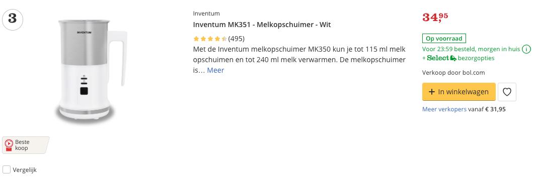 Beste Inventum MK351 - Melkopschuimer - Wit Top 3 Review