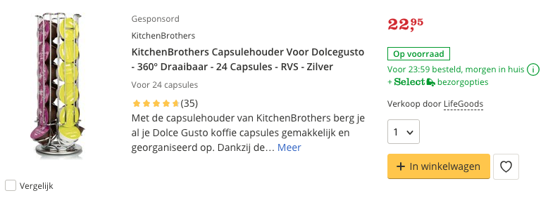 Beste KitchenBrothers Capsulehouder Voor Dolcegusto - 360º Draaibaar - 24 Capsules Top 3 review