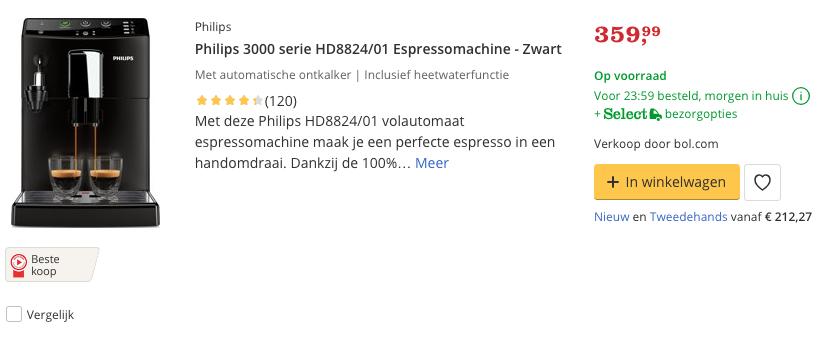 Beste Philips 3000 serie HD8824:01 Espressomachine - Zwart Top 4 Review