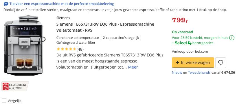 Beste Siemens TE657313RW EQ6 Plus - Espressomachine Volautomaat - RVS Top 3 review