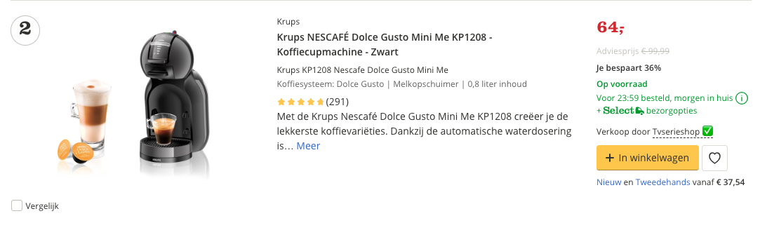 Beste koffiecupsmachine top 2 Review Krups KP1208 Nescafe Dolce Gusto Mini Me