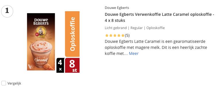 Beste top 1 Douwe Egberts Verwenkoffie Latte Caramel oploskoffie - 4 x 8 stuks review