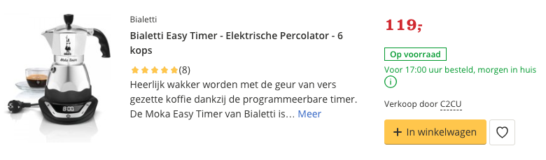 Beste top 2 Bialetti Easy Timer - Elektrische Percolator - 6 kops review