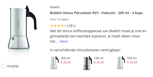 Top 1 Bialetti Venus Percolator RVS - Inductie - 200 ml - 4 kops review