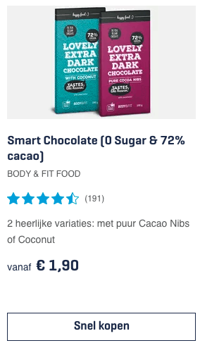 Top 1 Smart Chocolate (0 Sugar & 72% cacao) Body & Fit Food review