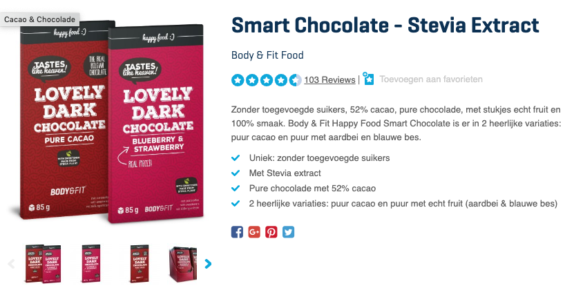 Top 2 Smart Chocolate - Stevia Extract Body & Fit Food review