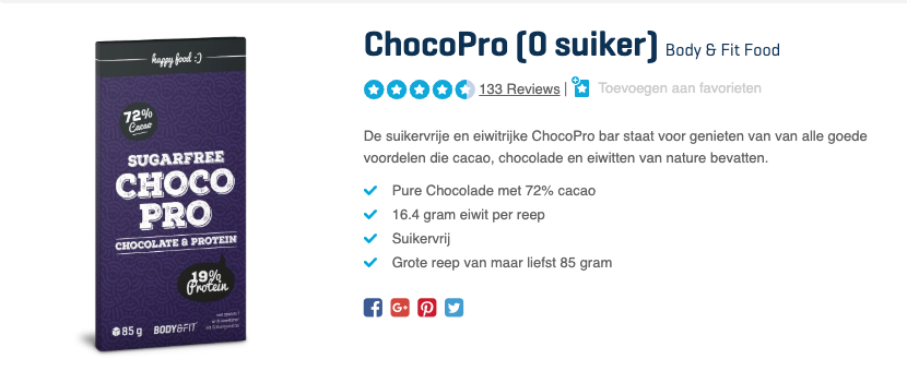 Top 3 ChocoPro (0 suiker) Body & Fit Food review