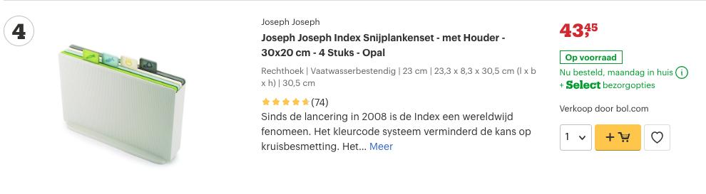 Top 3 Joseph Joseph Index Snijplankenset - met Houder - 30x20 cm - 4 Stuks - Opal review