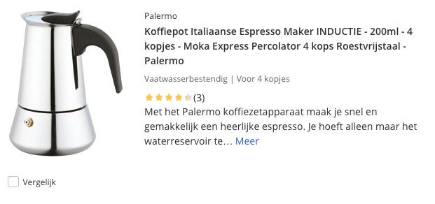 top 5 Koffiepot Italiaanse Espresso Maker INDUCTIE - 200ml - 4 kopjes - Roestvrijstaal - Palermo review