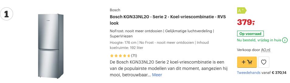 Top 1 Bosch KGN33NL20 - Serie 2 - Koel-vriescombinatie - RVS look review