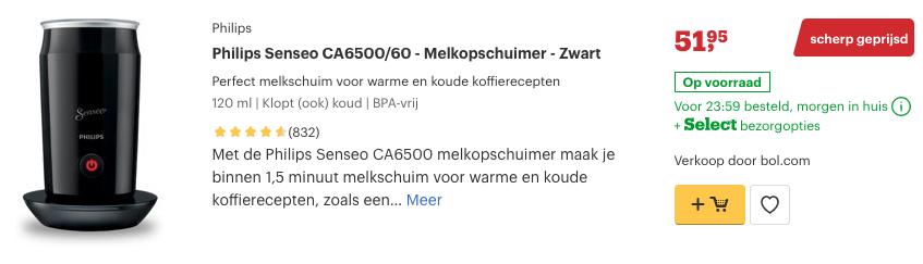 Top 1 Philips Senseo CA6500:60 - Melkopschuimer - Zwart review