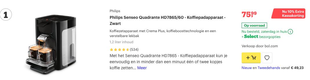 Top 1 Philips Senseo Quadrante HD7865:60 - Koffiepadapparaat - Zwart reivew