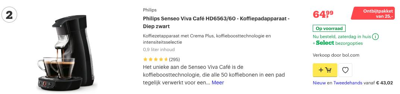 Top 2 Philips Senseo Viva Café HD6563:60 - Koffiepadapparaat - Diep zwart review