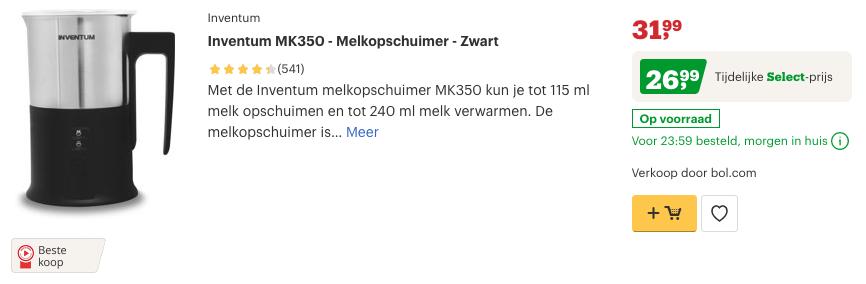 Top 3 Inventum MK350 - Melkopschuimer - Zwart review
