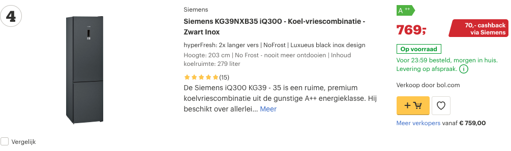 Top 4 Siemens KG39NXB35 iQ300 - Koel-vriescombinatie - Zwart Inox review