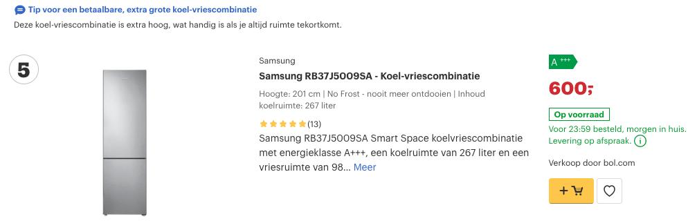Top 5 Samsung RB37J5009SA - Koel-vriescombinatie review